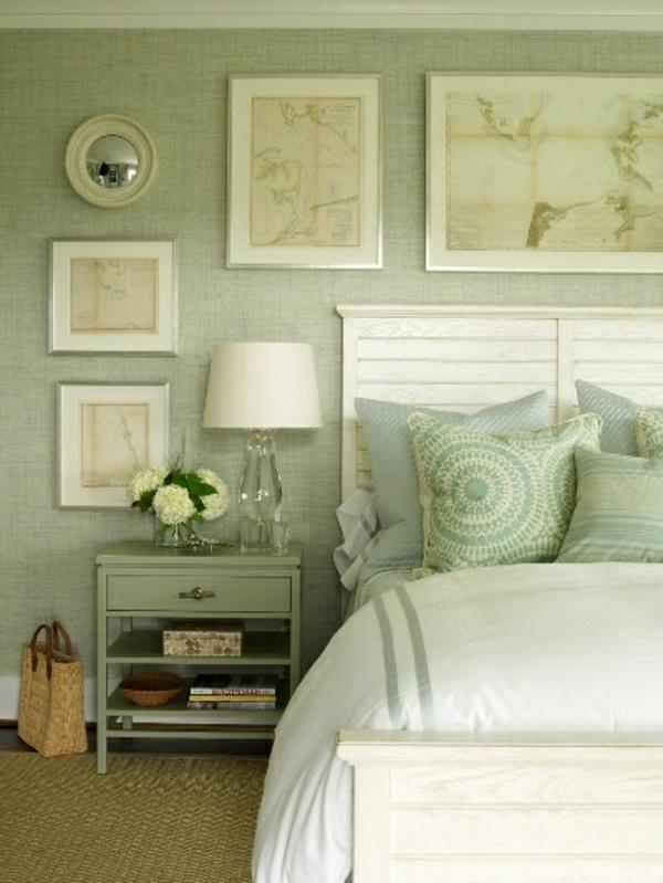 55 ideen f r gr ne wandgestaltung im schlafzimmer - Grune mosaikfliesen ...