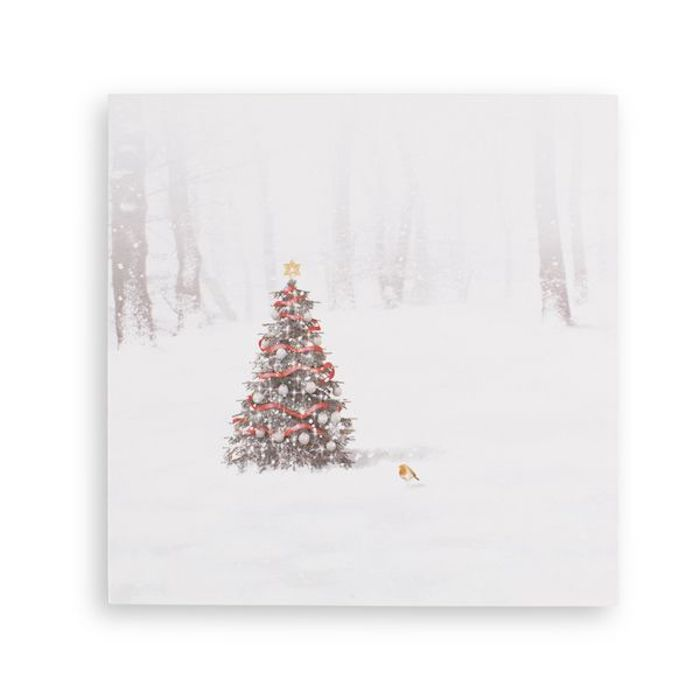 Weihnachtskarte mit Foto, geschmückter Tannenbaum und kleines Vögelchen, Wald mit Schnee bedeckt