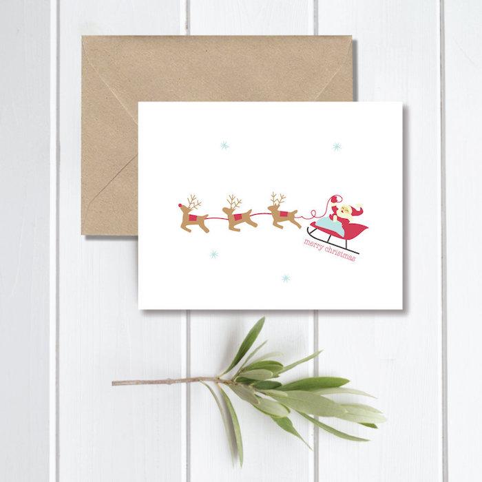 Ideen für Weihnachtskarten, der Weihnachtsmann im Schlitten mit drei Rentieren auf weißem Grund