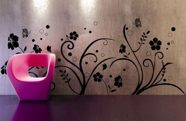 innovative-Ideen-für-eine-fantastische-Wandgestaltung-rosa-Stuhl