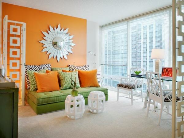 ... farbgestaltung wohnzimmer mit dachschräge : orange farbgestaltung im