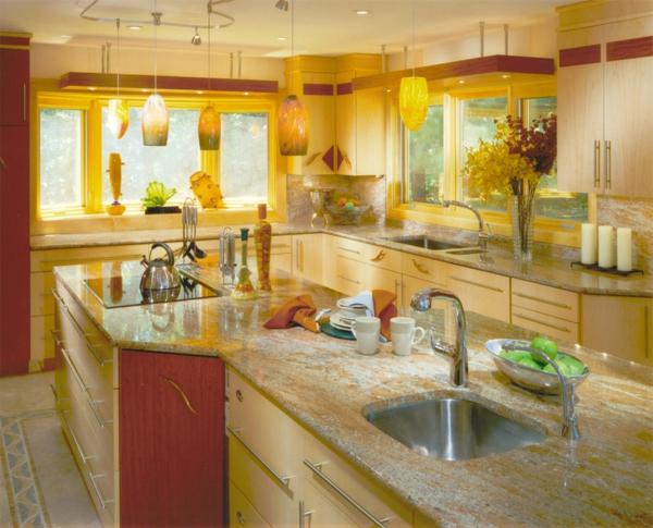 coole k chen wandfarbe gelb orange und rot. Black Bedroom Furniture Sets. Home Design Ideas
