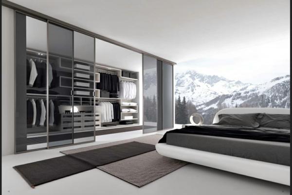 interior-design-minimalistisch-schwarz-glastüre