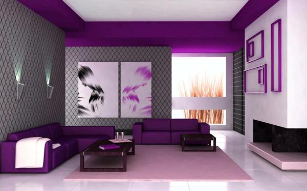 Wohnzimmer ideen wandgestaltung lila  100 fantastische Ideen für elegante Wohnzimmer! - Archzine.net