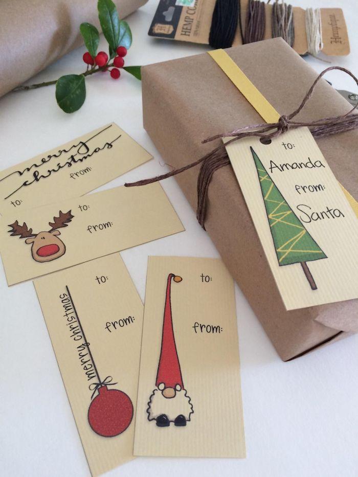 Lustige Weihnachtskarten selber machen, mit Tannenbaum, Weihnachtsmann Christbaumkugel und Rentier