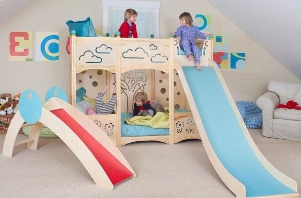 kinderzimmer mit hochbett und rutsche: 50 fotos! - archzine.net - Kinderzimmer Rot Blau