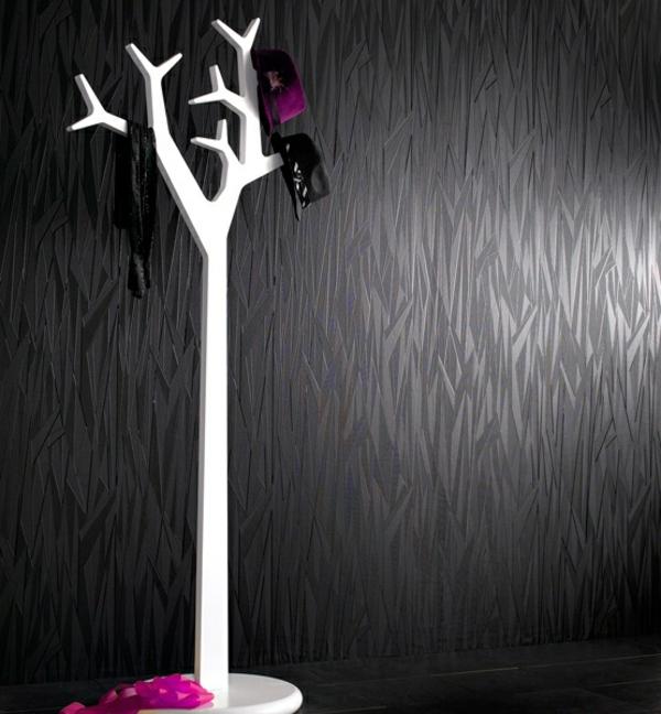 Schwarze Tapete Welche Wandfarbe : schwarze Tapete