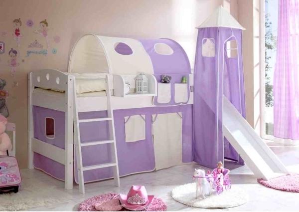 Wandgestaltung Kinderzimmer Lila : Wandgestaltung kinderzimmer lila  Lilakinderzimmermithochbettund
