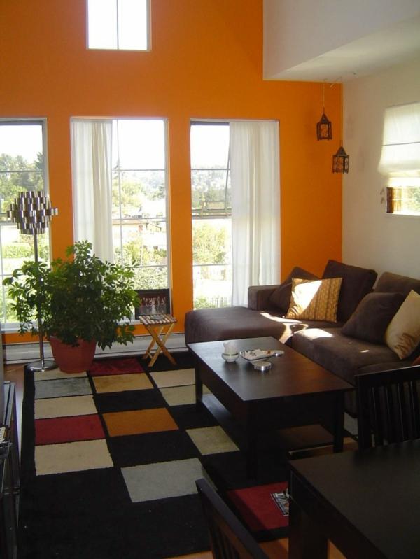 moderne-schöne-orange-farbgestaltung-im-wohnzimmer