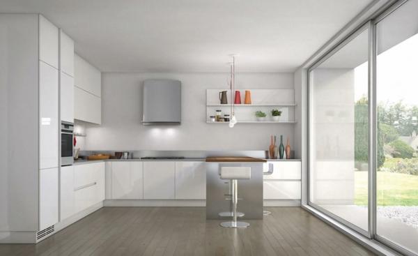 Idee moderne weisse küche mit kochinsel : Neue Küchenideen: minimalistische Gestaltung