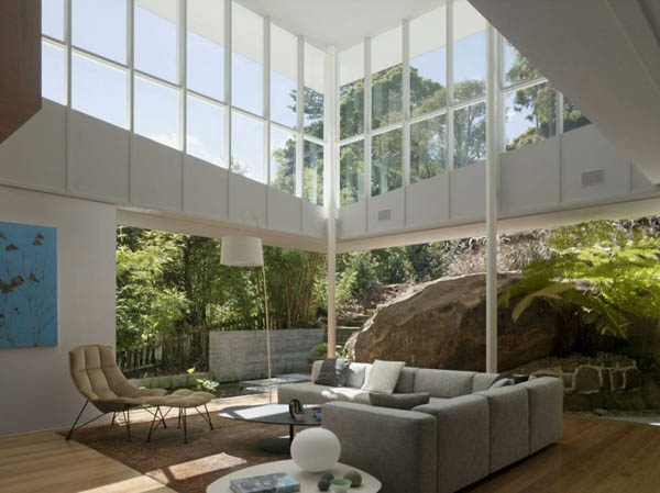 Superieur Moderner Steingarten Gläserne Wände