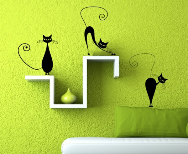 modernes-Interior-Design-kreative-Wandgestaltung-in-Limegrün
