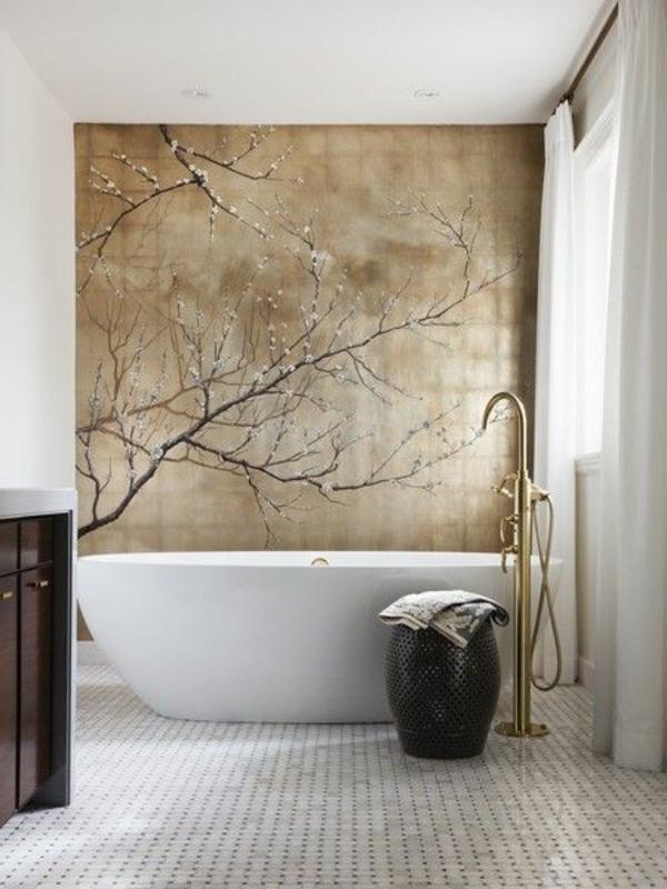 modernes Interior Design wunderbare Wandgestaltung im Badezimmer  - Welche Tapete Fur Badezimmer