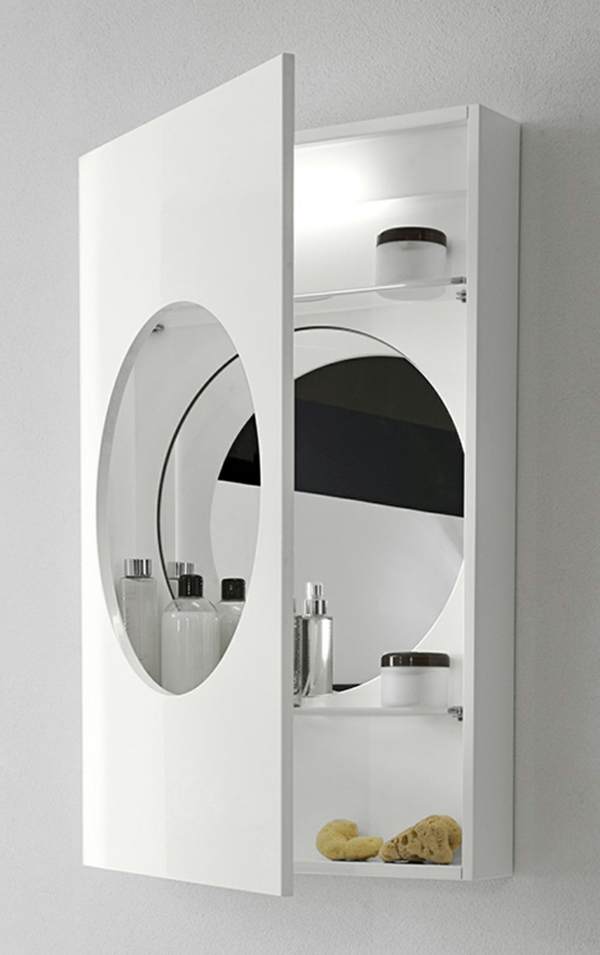 Modernes Badezimmer Mit Einem Designer Badspiegel Weiße Farbe