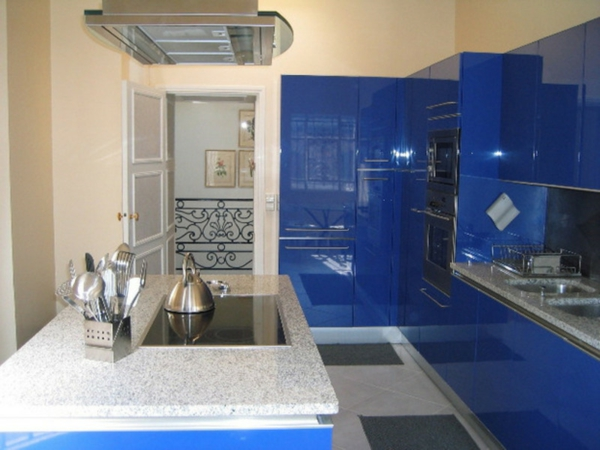 blue kitchen cabinets, kitchen, cabinets