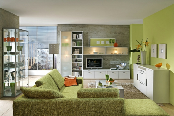wohnzimmer olivgrün:olivgrüne-moderne-Farben-für-das-Wohnzimmer
