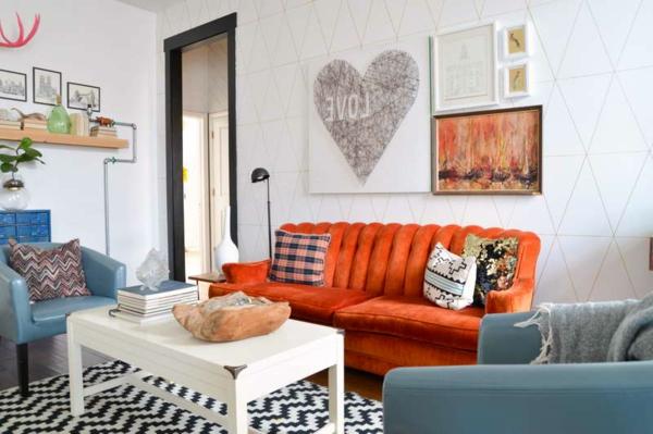wohnzimmer einrichten orange. Black Bedroom Furniture Sets. Home Design Ideas