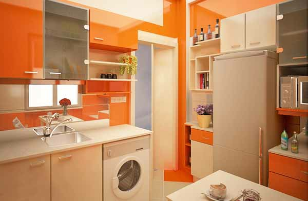 orange-küchen-wandfarbe-cooles-aussehen