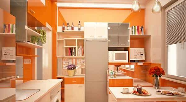 orange-küchen-wandfarbe-moderne-möbel