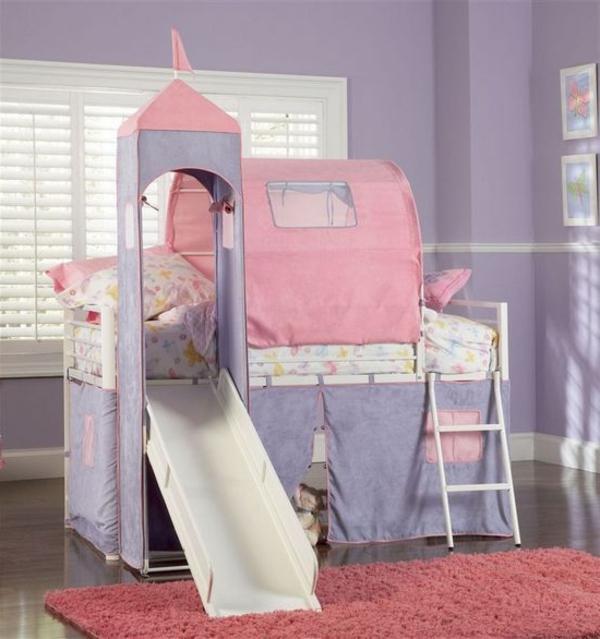 originelles kinderzimmer mit hochbett und rutsche. Black Bedroom Furniture Sets. Home Design Ideas