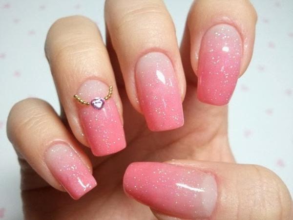 Nageldesign Bilder für Hochzeit - rosige farbe