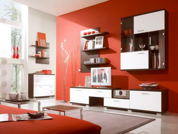 Moderne wandfarben 40 trendige beispiele for Rote wandfarbe