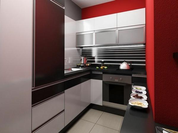 Rote Küchen Wandfarbe Minimalistische Gestaltung