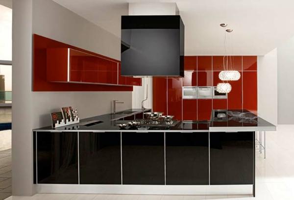 Rote Küchen Wandfarbe Ultramoderne Gestaltung
