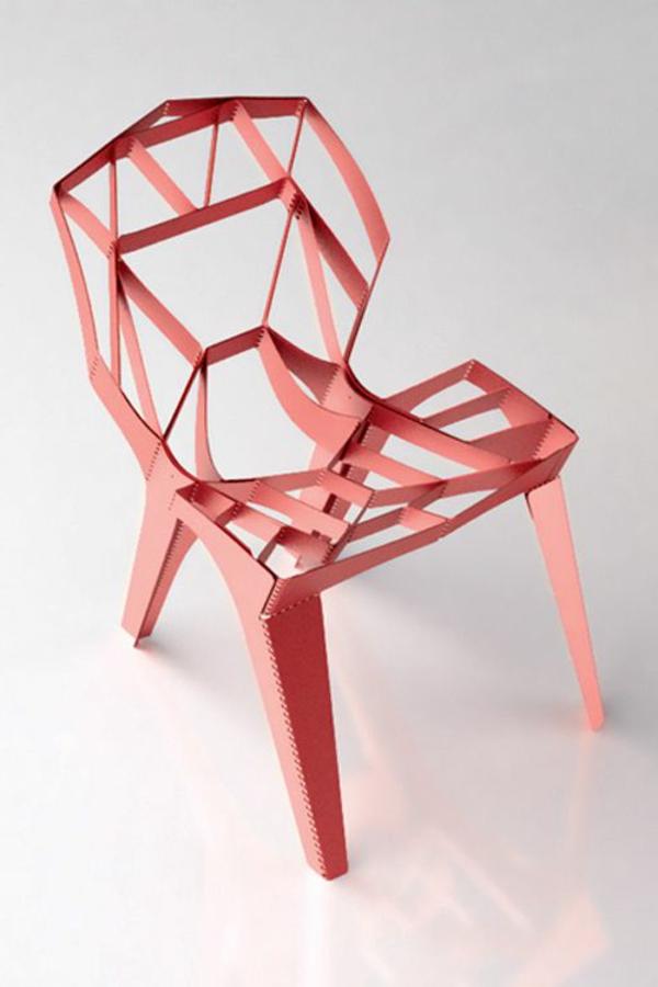roter--designer-Stuhl-mit-ultra-modernem-Design