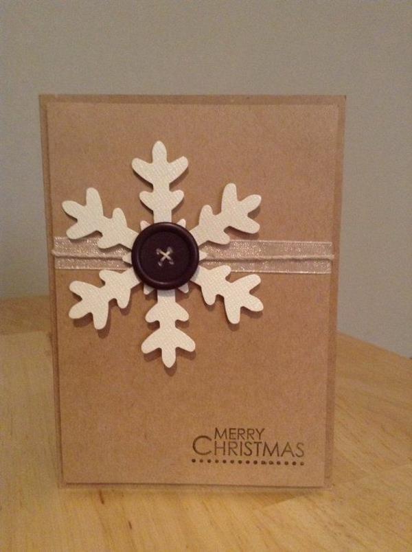 tolle-Weihnachtskarte-mit-einer-Schneeflocke-selber-basteln-Schöne Weihnachtskarten selber basteln