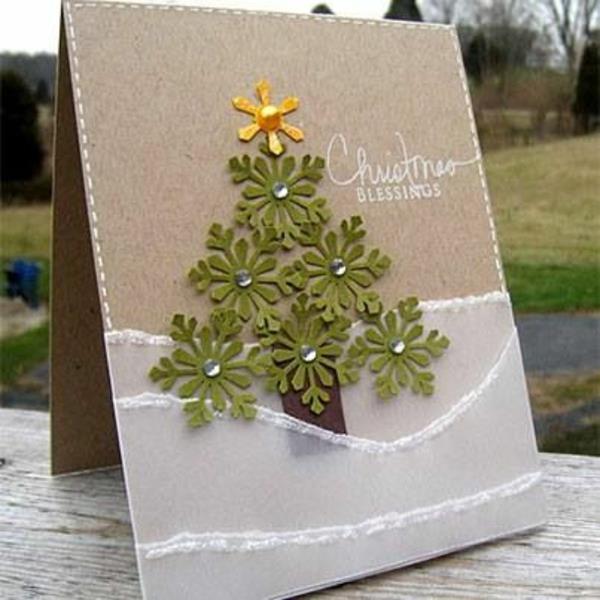 schöne-Weihnachtskarten-selber-basteln-Tannenbaum-Ideen