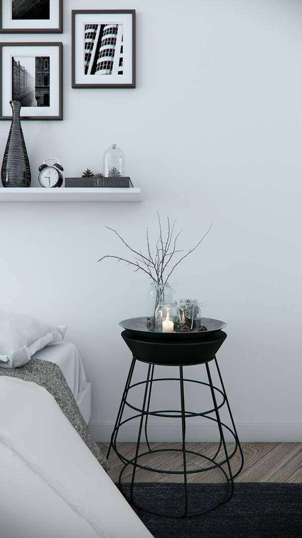 schlafzimmer-modern-gestalten-weiße-wand-bilder-saran