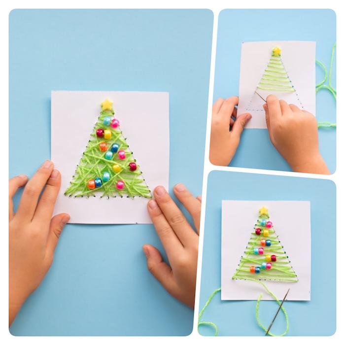 Weihnachtskarten basteln mit Kindern, Weihnachtsbaum aus grünem Faden und bunten Holzperlen