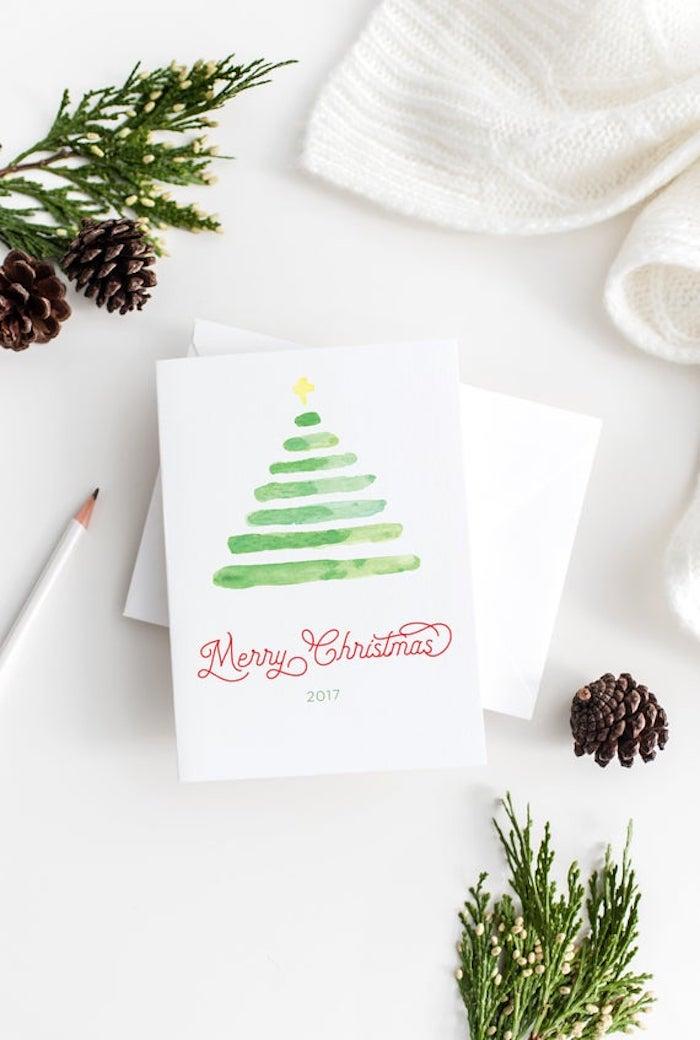 Weihnachtskarten basteln, Weihnachtsbaum malen mit Aquarellfarben, grüne Streifen und Stern