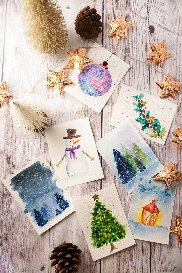 DIY Weihnachtskarten Ideen, verschiedene Weihnachtsmotive mit Aquarellfarben malen, Schneemann und Weihnachtsbaum, weihnachtskarten selber basteln vorlagen kostenlos
