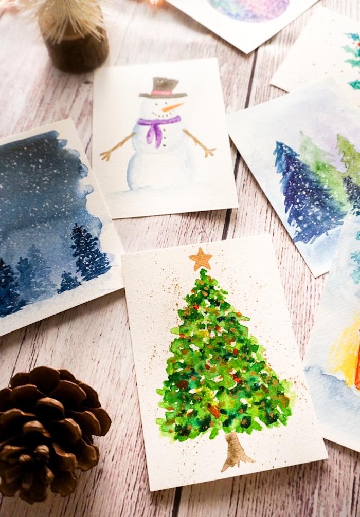 DIY Weihnachtskarten mit Aquarellfarben, Schneemann und Weihnachtsbaum malen