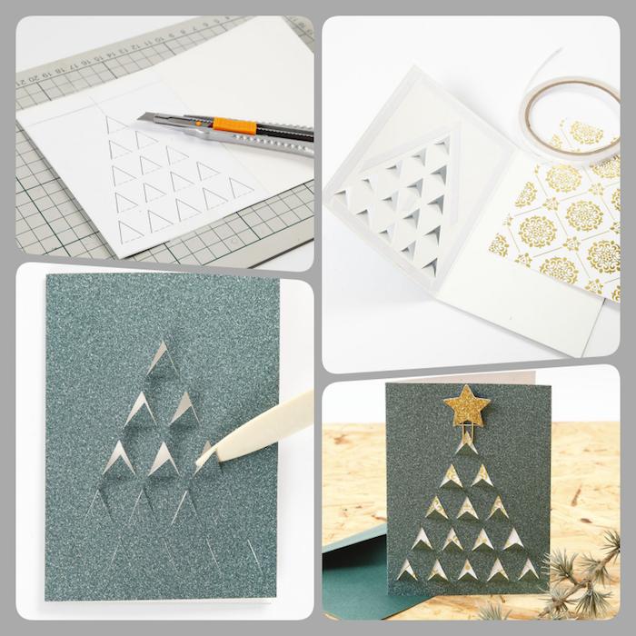 DIY Ideen für schöne Weihnachtskarten, kleine Dreiecke ausschneiden, Weihnachtsbaum gestalten