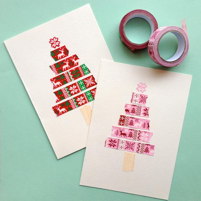 Washi Tape Weihnachtsbaum, Weihnachtskarten einfach und schnell selber machen