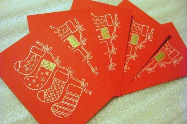 selbstgebastelte-weihnachtskarten-orange-farbe