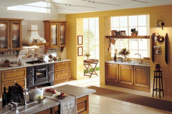 super-interessante-und-schöne-gelbe-küchen-wandfarbe