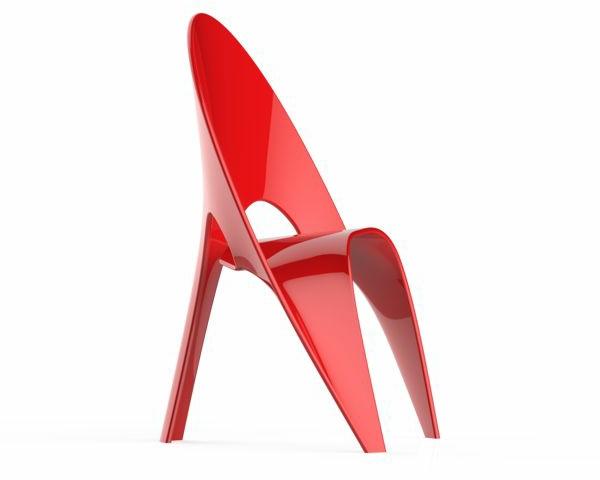 super-toller-roter-designer-Stuhl-mit-fantastischem-Design