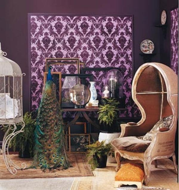 tapeten farben ideen akzent wand in lila farbe - Tapeten Lila Farbe Wandgestaltung
