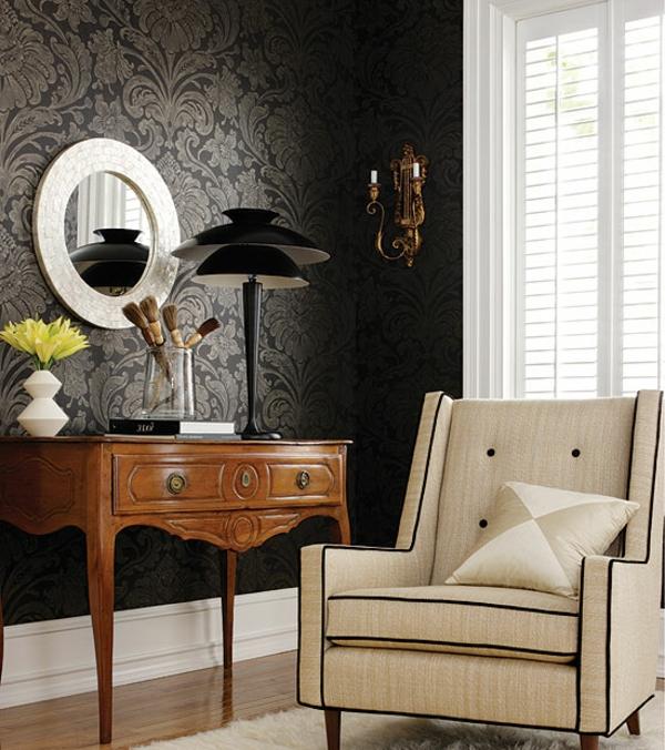 Pastell Farben F?r Tapeten : tapeten-farben-ideen-beige-sessel-und-schwarze-wand