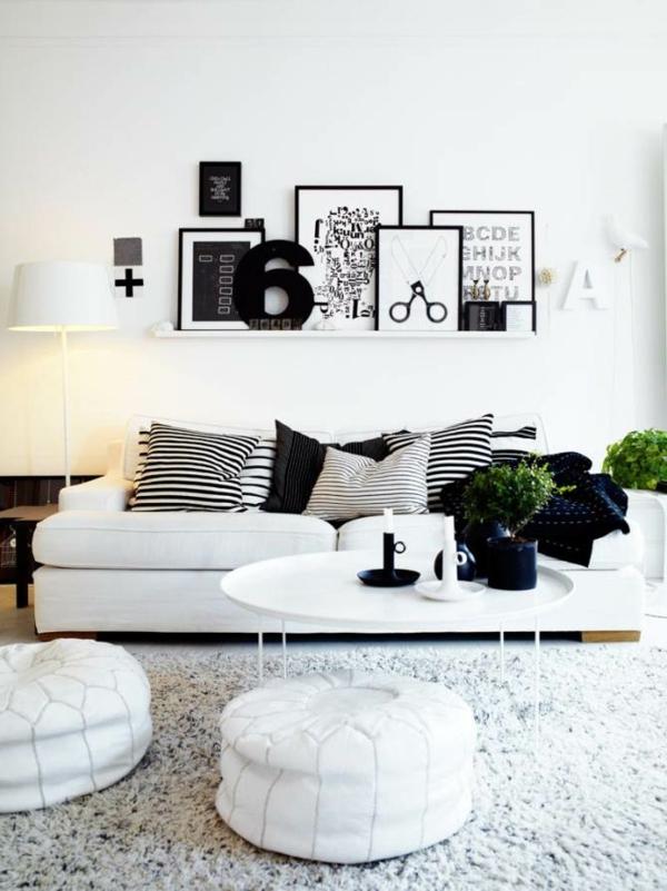 tapeten-farben-ideen-bilder-an-der-weißen-wand-im-wohnzimmer