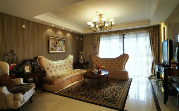 Aristokratisches wohnzimmer in braunen farbschemen - Tapeten farben ideen ...