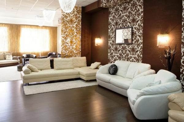 tapeten farben ideen braune nuancen im eleganten wohnzimmer - Braune Wand Wohnzimmer