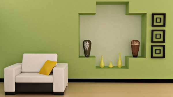 Wohnzimmer Tapeten Gestaltung : tapeten-farben-ideen-cooles-design-vom-wohnzimmer-gr?ne-wand