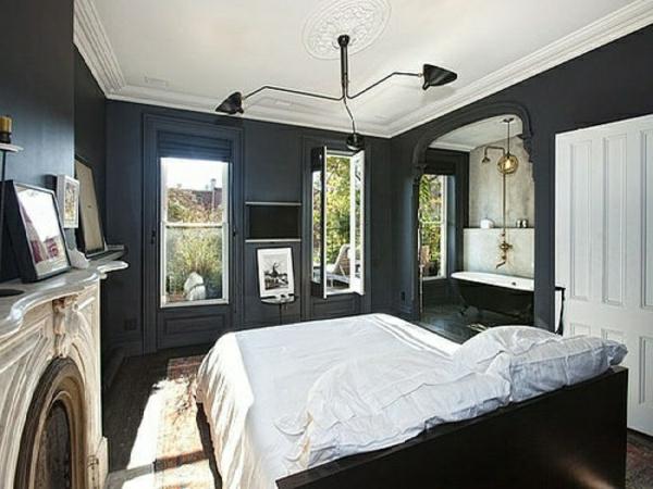 tapeten-farben-ideen-cooles-schlafzimmer-mit-schwarzen-wänden