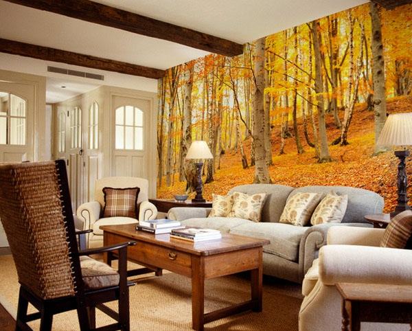 tapeten-farben-ideen-cooles-wohnzimmer-mit-orange-wänden