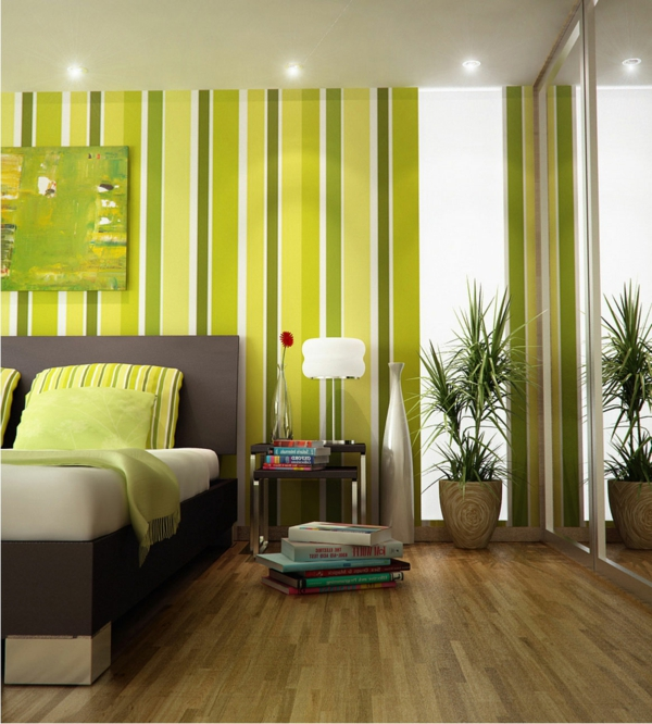 tapeten-farben-ideen-deckenlecuhten-und-grüne-wand